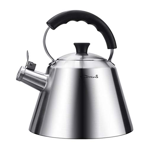 Byx- Kettle Food Grade 304 Stainless Steel Kettle Home 3L Whistl Kettle Gas Induction Cooker Universal Thickening Double Bottom Kettle -tea pot ()