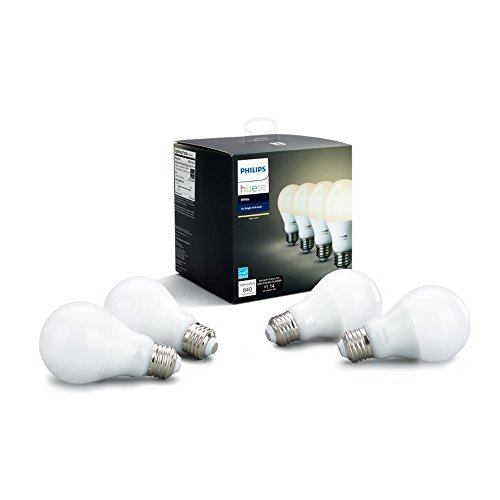 (Philips Hue White 4-Pack A19 60W Dimmable LED Smart Bulbs, Compatible with Alexa, HomeKit & Google Assistant, Hub Required (California Residents))