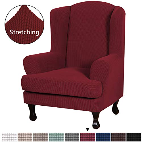 2 Piece Sofa Cover High Stretch Jacquard Fabric Furniture Slipcover Stay in Place Soft Spandex Form Fit Wing Back Armchair Slipcovers, Skid Resistance Machine Washable (Wing Chair, Burgundy Red) (Wingback Burgundy Chair)
