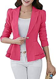 FLITAY Womens Long Sleeve Solid Color Blazer Open Front Work Loose Blazer Jacket
