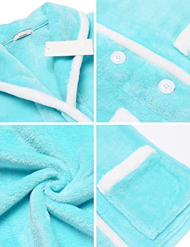 da Collo Giacca Caldo Scialle Maniche Donna S Invernale Blu con Tasche XXL Abbottonatura MAXMODA Pigiama Letto Morbido Lunghe con a 8455q