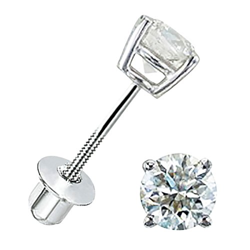 ium plated screwback 4mm AAA Cubic Zirconia Stud Earrings for baby, girls and women ()