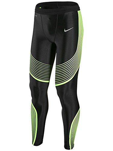 Nike Men's Power Speed Running Tight LG Black/Volt by Nike