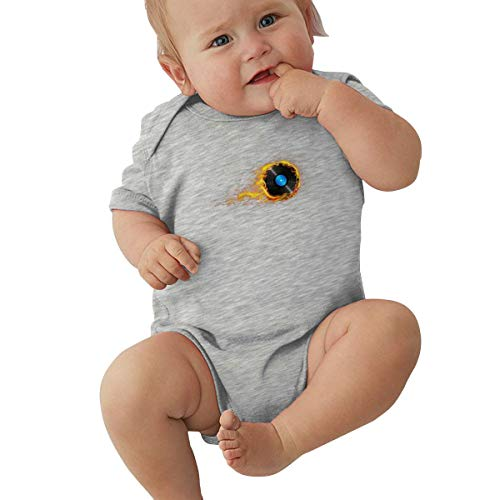Dejup Unisex Baby Short Sleeve Bodysuits Music Turntable Mixer Disc Funny Summer Boys Girls Onesies Gray]()