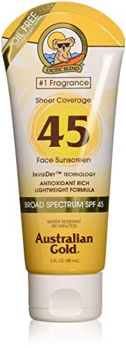 Australian Gold Sheer Coverage Sunscreen Lotion, Lightweight & Invisible Dry, Broad Spectrum, Water Resistant, Cruelty Free, Paraben Free, PABA Free, Oil Free, Dye Free, Alcohol Free, SPF 45, 3 Ounce