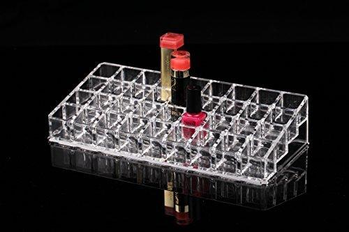 UPC 616913888675, Vieworld High Quality Acrylic Lipstick/Nail Polish Organizer, 32 Compartments, Clear