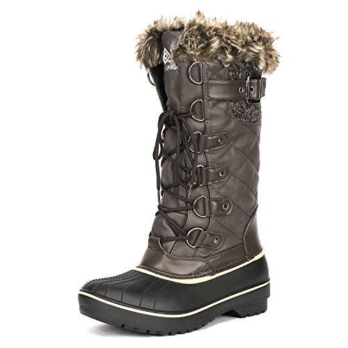 DREAM PAIRS Women's DP-Avalanche Brown Faux Fur Lined Mid Calf Winter Snow Boots Size 10 M US (Fur Inserts For Boots)