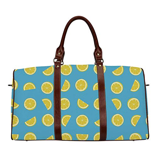 Yellow and Blue Waterproof Travel Bag,Fresh Lemon Slices Fruit Happy Summer Sun Exotic Vacation Holiday Joy for Travel,18.62