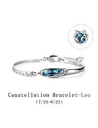 T400 Blue Swarovski Element Crystal Bangle Wrist Bracelet Zodiac Sign 12 Constellation Horoscope Birthday Gift for Women Girls