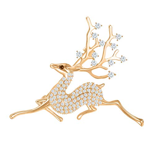 FAMARINE CZ Sika Deer Brooch, Christmas Animals Brooch Pin Paved by Cubic Zirconia Crystals (Gold)
