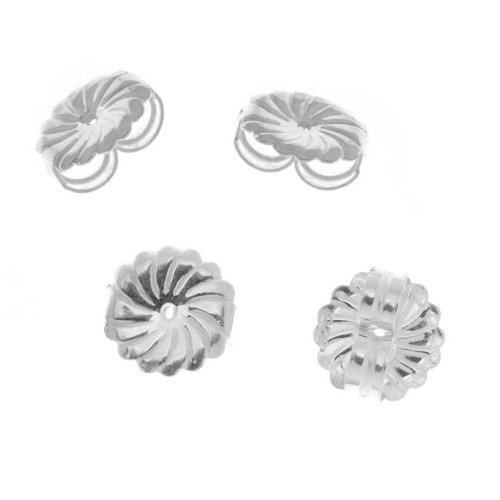 4-Piece Fancy Earring Backs Ear nuts, Large, Sterling Silver