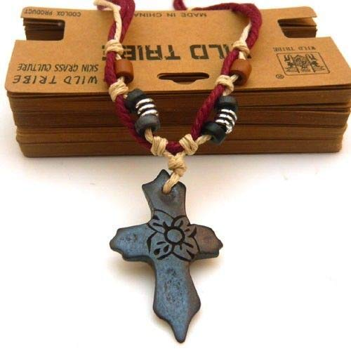 Thick Hemp Beaded Cord Yak Bone Plum Blossom Flower Crucifix Cross Necklace - Flowers Beaded Necklace