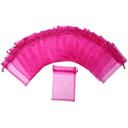 "ZUUC Colorful Organza Drawstring Pouch Bag, 6''W x9"" L, Pack of 50 (Fuchsia)"