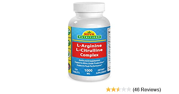 Amazon.com: Nova Nutritions L Arginine L Citrulline Complex 1000 mg 250 Tablets: Health & Personal Care