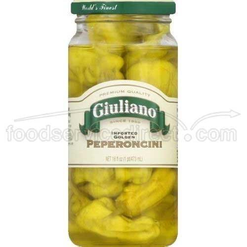 Giulianos Greek Golden Imported Peperoncini, 16 Ounce - 6 per case.