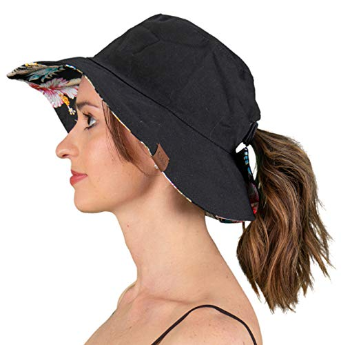 Funky Junque Reversible Ponytail Sun Hat UPF 50+ Messy Bun Canvas Bucket Hat Cap