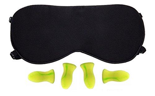 100% Natural Silk Sleep Mask/Eye Mask with 2 Adjustable Straps,2 pairs Earplugs