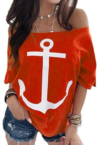 WSPLYSPJY Women's Short Sleeve Loose Fit Off Shoulder Printed Casual Anchor Blouse Tops Red M