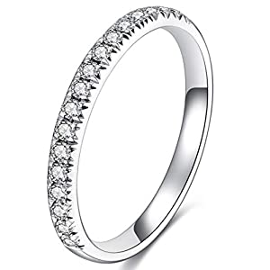 GEM DE LUXE Eternity Wedding Band Platinum Plated Silver 2ct 2.8mm Moissanite Engagement Ring Half Eternity Band for…
