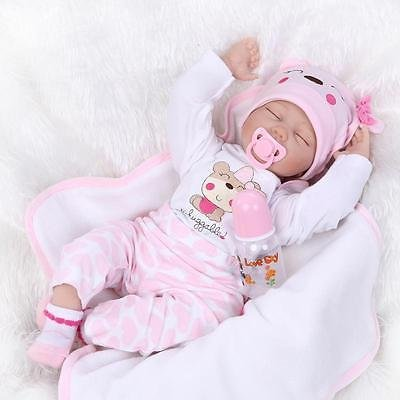 22'' Handmade Lifelike Baby Boy Girl Silicone Vinyl Reborn Newborn Dolls +Clothes