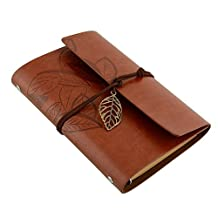 TR318 Vintage Retro Leather Cover Loose Leaf or Nautical Design String Blank Notebook Diary Journal Travel Gift (Brown 4*6 inch)