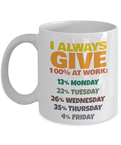 """I Always Give 100% at Work"" Funny Mug"