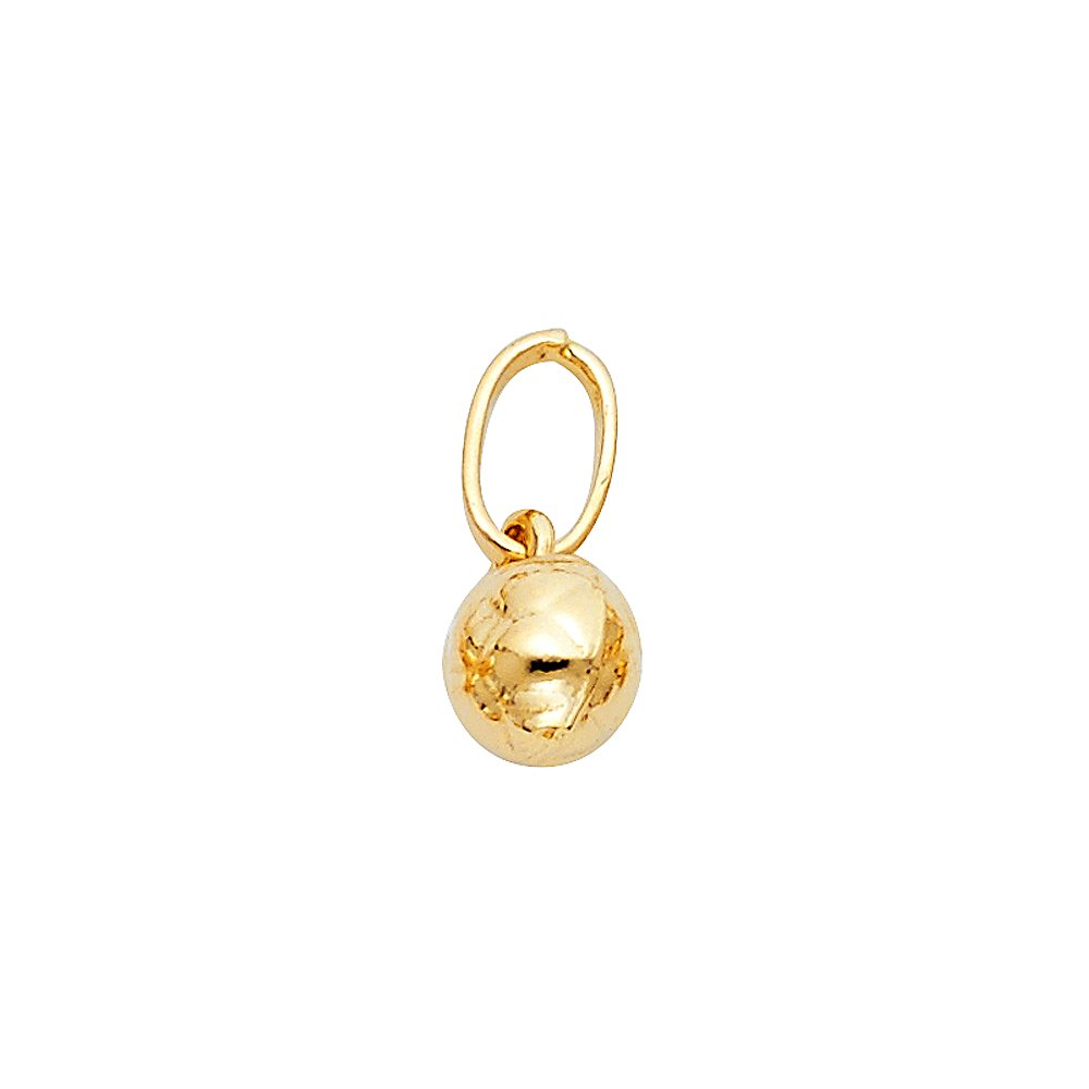 14K Yellow Gold Small Plain Soccer Ball Charm Pendant with 1.6mm Figaro 3+1 Chain Necklace