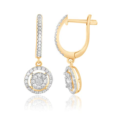 0.50 Ct Round Cut Natural Diamond Solid 14k Gold Halo Drop Dangle -