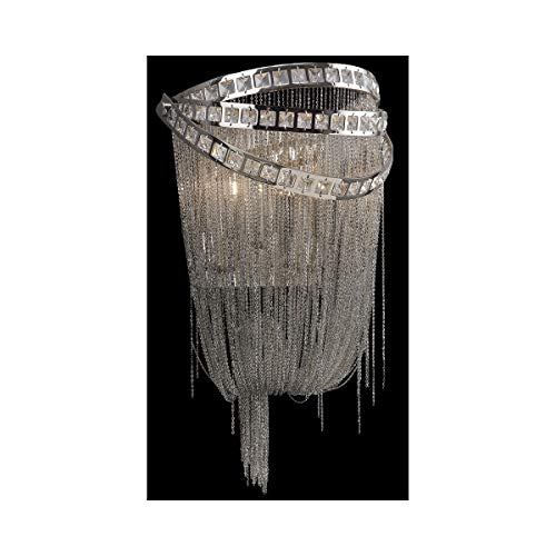 (Wall Sconces 2 Light Fixtures with Polished Nickel and Crystal Finish E12 Bulb Type 10