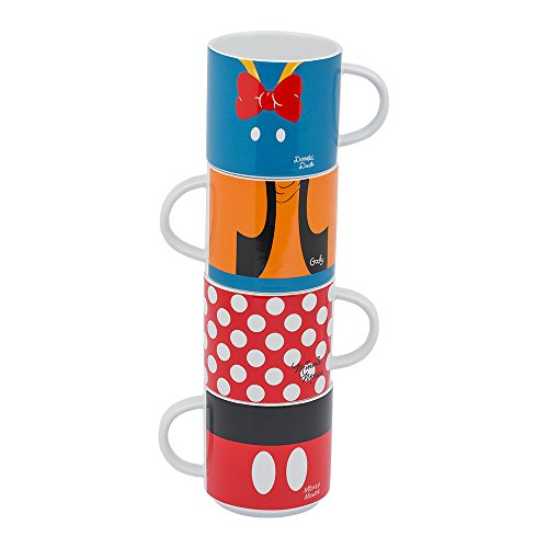 Vandor Disney Mickey and Friends 4 Piece Stacking Ceramic Mug Set, 10 Ounces Each (89006)