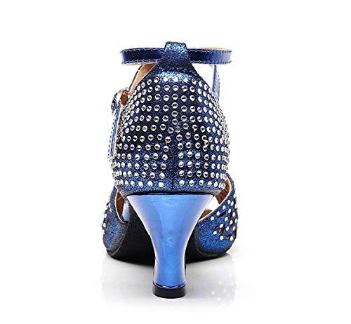 De Qiusa 5 Synthétiques Bleues Uk Bas Danse Talons Scintillantes Sandales 5coloréTaille À Découpées wk0PnO