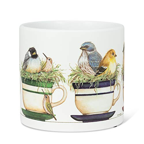 Abbott Collection 27-PARADE-094-LG Lg Birds in Teacups Planter-6.5