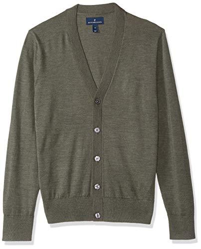 BUTTONED DOWN Men's Italian Merino Wool Lightweight Cashwool Cardigan Sweater, Olive Heather, Large