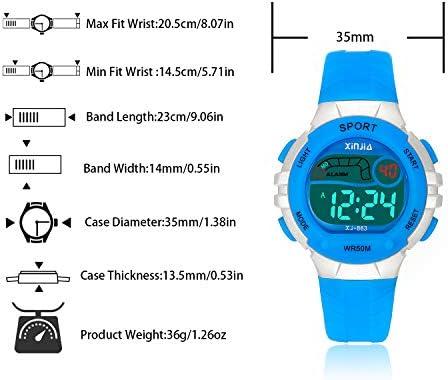 キッズデジタル腕時計 ボーイズ ガールズ スポーツ アウトドア LED 50m(5ATM) 防水 多機能腕時計 アラーム付き 子供 女の子 男の子用 Green882