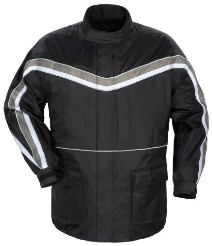 Tour Master Elite II Men's Street Motorcycle Rainsuit - Black/Silver/Medium