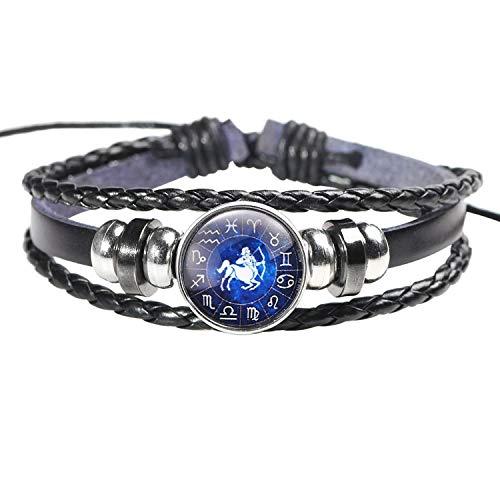 DLNCTD 2019 Beads Charm Bracelets Women Vintage Fashion Men Women Constellation 12 Zodiac Sign Bracelets Punk Woven Leather,Antique Copper Plated
