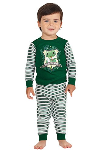 Slytherin Baby Clothes (Harry Potter Slytherin House Crest Serpent Cotton Baby Pajama Gift Set, Slytherin, 6MO)