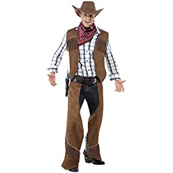 Smiffys Men's Fringe Cowboy Costume, Waistcoat, Chaps, Neckerchief and Hat, Western, Serious Fun, Size M, 22656