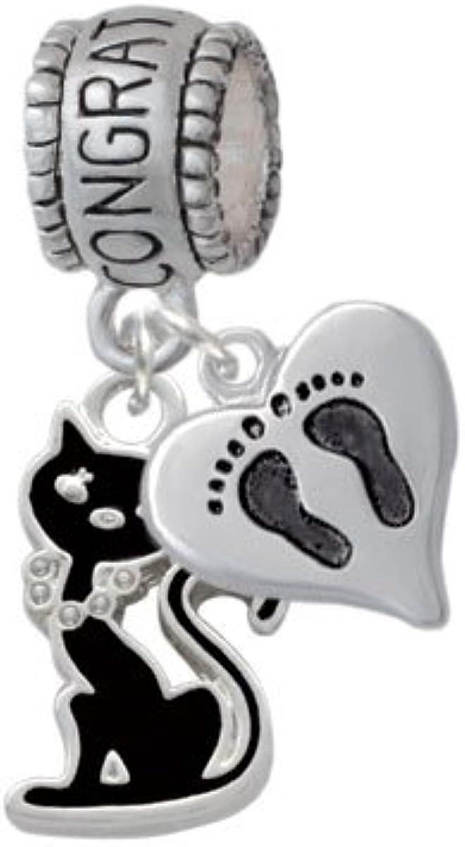 Black Sitting Cat Congratulations Charm Hanger with Mini Baby Feet Heart