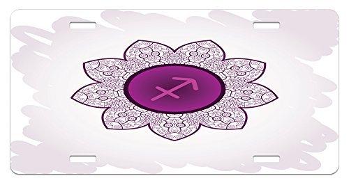 Iliogine Zodiac Sagittarius Oriental Mandala Design with Horoscope Symbol Floral Arrangement Purple and White License Plate Cover Car Tag Frame Auto License Plate Holder 12 x -