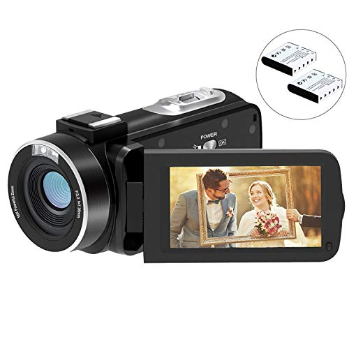 Video Camera Camcorder FamBrow Digital YouTube Vlogging Camera Recorder Full HD 1080P 24MP 3.0 Inch 270 Degree Rotation LCD 16X Digital Zoom Camcorder with 2 Batteries (Best Quality Camcorder Under 300)