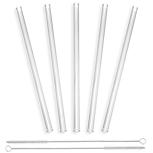 Glass Straws Handmade Clear Straight 9 in x 10 mm - 5 Pack With 2 Cleaning Brushes - Premium Glass - Healthy, Reusable, Eco Friendly, BPA Free, Very Sturdy - Milkshake and Smoothie Straws -