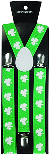 Loftus International Star Power Irish St. Patrick's Day Shamrock Suspenders Green White One Size Novelty Item -