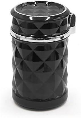 uxcell タバコ 灰皿 ブラック 自動車 ブルー LED ライト 携帯式 無煙 ホルダー