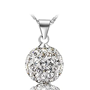 Blinglove 4 Color White Gold Plated 12mm Round Shamballa Crystal Bead Pendant Necklace for Women Girls