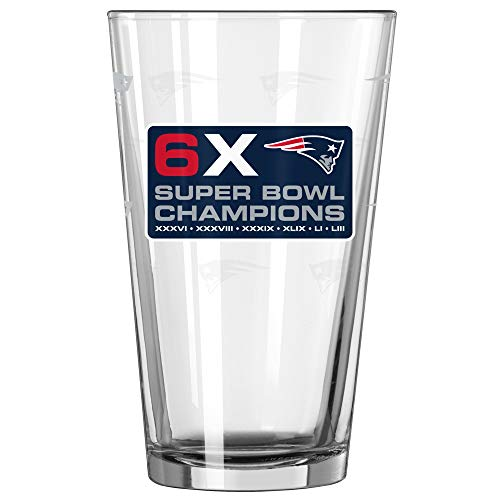 New England Patriots 6 Time Super Bowl Champions Satin Etch 16 Ounce Pint Glass