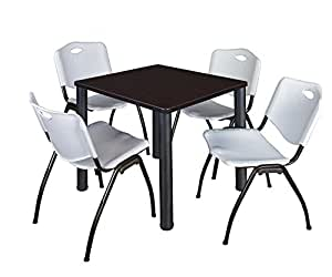 """Kee 30"""" Square Breakroom Table- Mocha Walnut/ Black & 4 'M' Stack Chairs- Grey"""