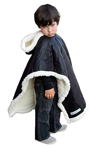 Car Seat Poncho Safe Coat Black Puffer Kids Down Sherpa Poofy Warm Hooded Blanket Safe Use Over Seat Belts