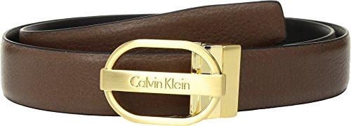Dark Cognac - Calvin Klein Women's 30mm Reversible, Pebble to Smooth, Dark Cognac, Large