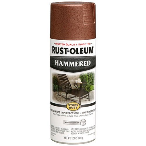 - Rust-Oleum 210849 Hammered Metal Finish Spray, Copper, 12-Ounce